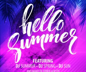Summer holiday sea party flyer template vector 01