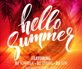 Summer holiday sea party flyer template vector 02