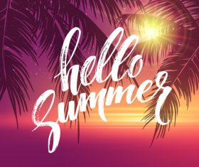 Summer holiday sea sunset vector background 02