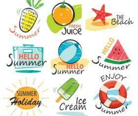 Summer holiday sing vintage vector 01