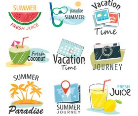Summer holiday sing vintage vector 02