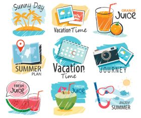 Summer holiday sing vintage vector 04