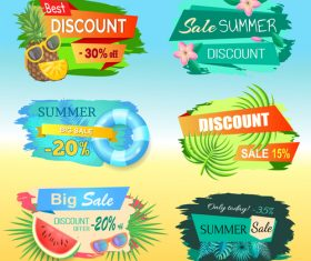 Summer sale discount labels set vector