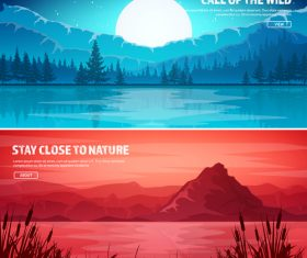 Sunrise and sunset banners vector 01