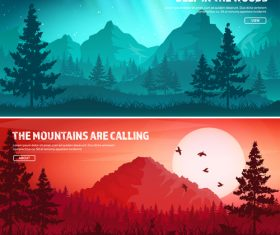 Sunrise and sunset banners vector 02