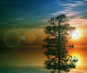 Sunrise and trees reflecting in the water Stock Photo