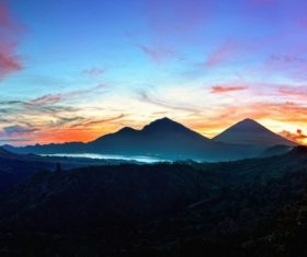 Sunrise bali mountains landscape Stock Photo
