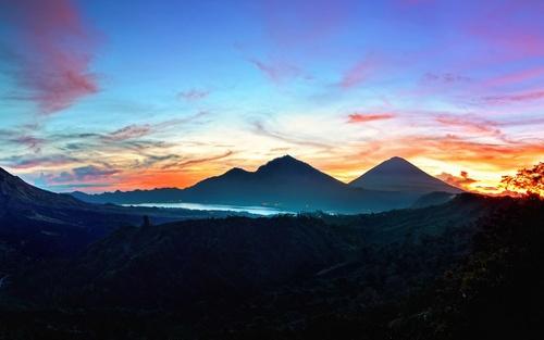 Sunrise bali mountains landscape Stock Photo
