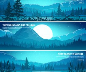 Sunrise natural scenery banners vector 01