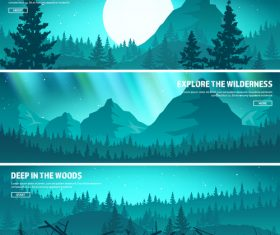 Sunrise natural scenery banners vector 02