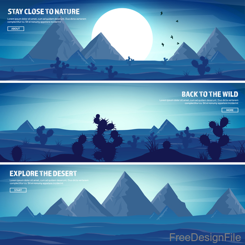 Sunrise natural scenery banners vector 03