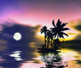 Sunset and reflection of coconut trees on the sea Stock Photo 01