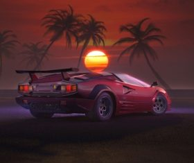 Sunset beach red sports car Stock Photo