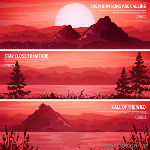 Sunset natural scenery banners vector 01