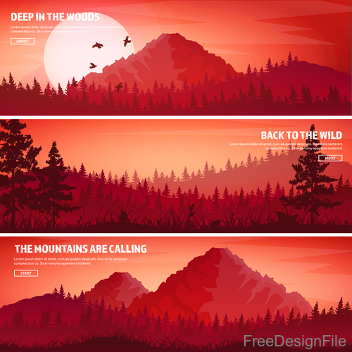 Sunset natural scenery banners vector 02