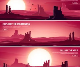 Sunset natural scenery banners vector 03