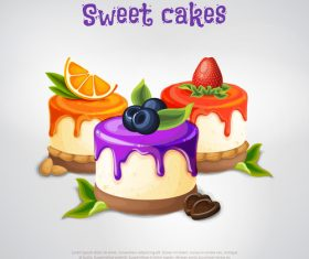 Sweet cakes design vectors