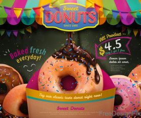 Sweet donuts poster template vector 01