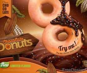 Sweet donuts poster template vector 02