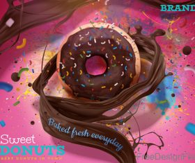 Sweet donuts poster template vector 03