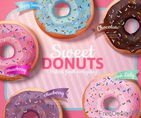 Sweet donuts poster template vector 04