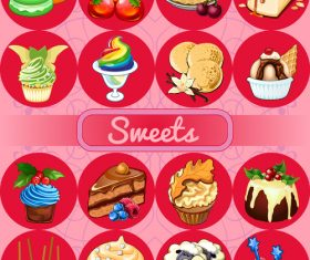 Sweet red circle icons vector 01