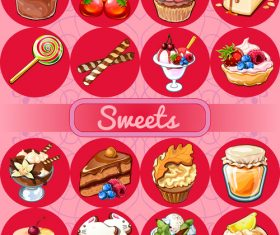 Sweet red circle icons vector 02