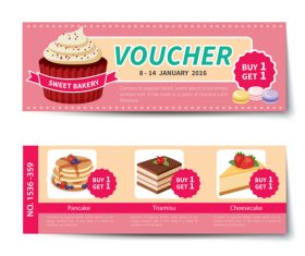 Sweet with cake voucher template vectors 01
