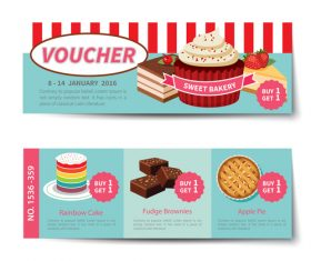 Sweet with cake voucher template vectors 02