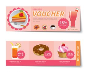 Sweet with cake voucher template vectors 03