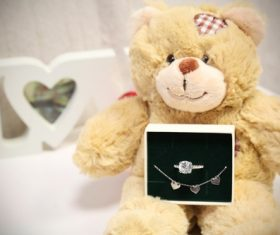 Teddy bears and jewellery Stock Photo