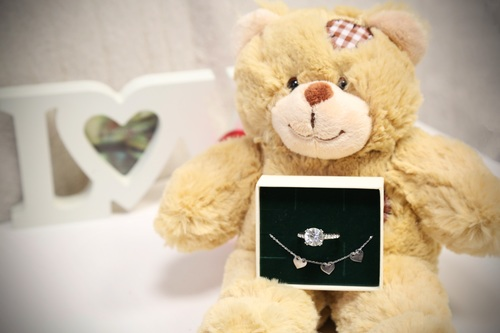 Teddy bears and jewellery Stock Photo