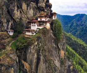 Temple built on a cliff Stock Photo