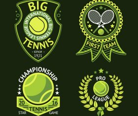 Tennis green logos vector 01