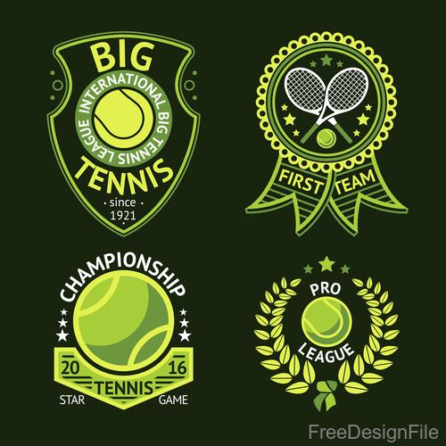 Tennis green logos vector 01