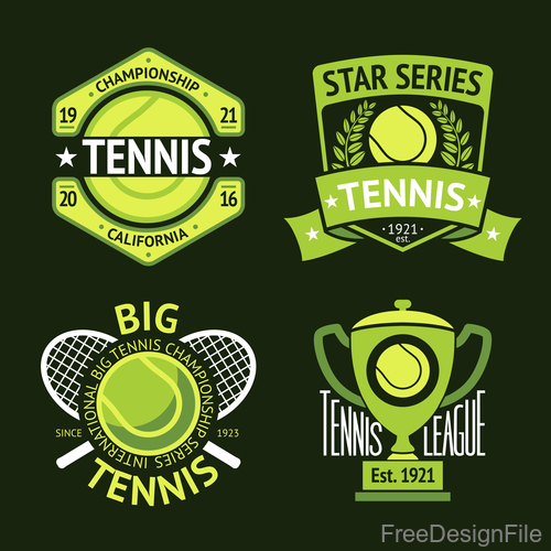 Tennis green logos vector 02