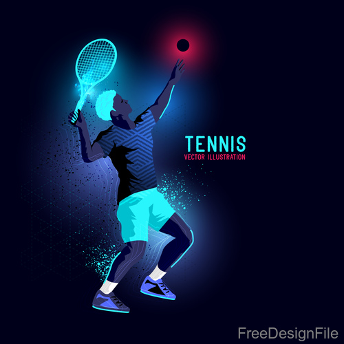 Tennis neon glowing background vector