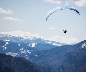 The thrills of paragliding Stock Photo 04