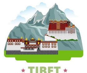 Tibet travel elements design vector