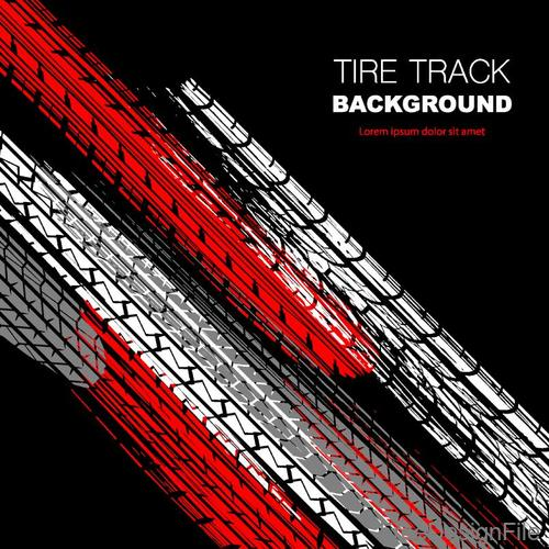Tire track background vector design 01