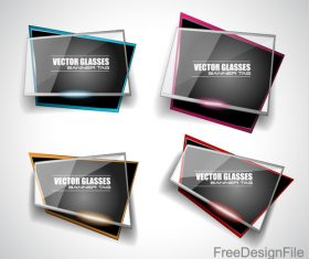 Transparent glass with black banners vector