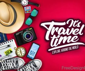Travel explore around the world vector