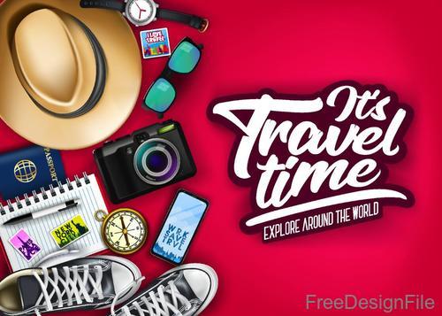 Travel explore around the world vector