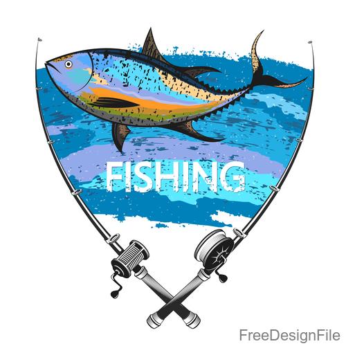Tuna fishing symbol vector