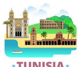 Tunisia travel elements design vector