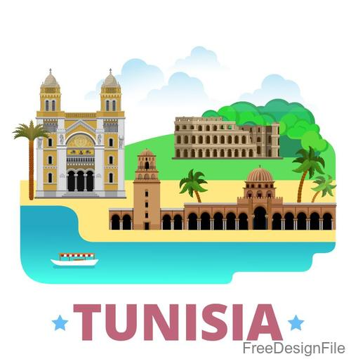 Tunisia travel elements design vector