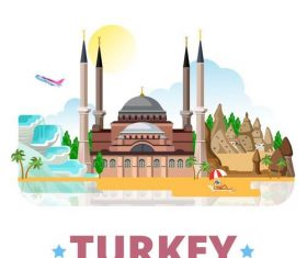 Turkey travel elements design vector