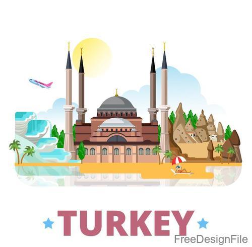 Turkey travel elements design vector