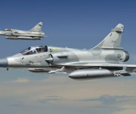 Two Mirage 2000 in the air Stock Photo