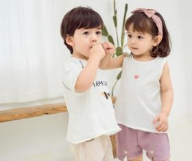 Two cute little kids Stock Photo